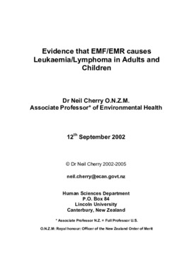 Evidence that EMF/EMR causes Leukaemia/Lymphoma in adults and children
